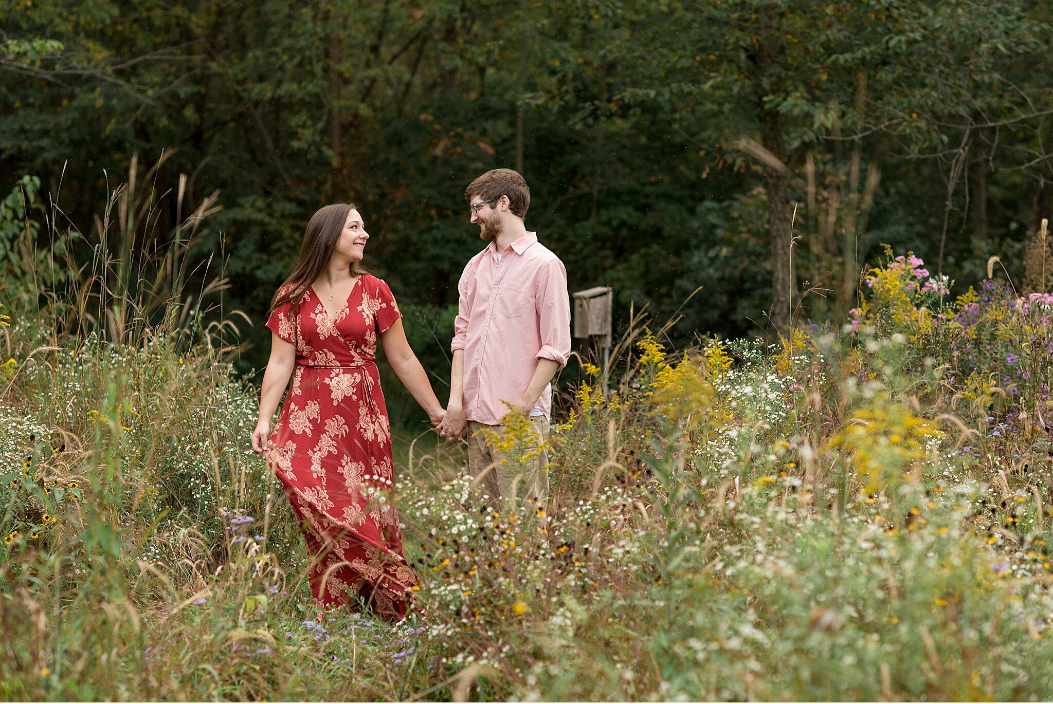 Fall floral engagement Lititz PA wedding photography