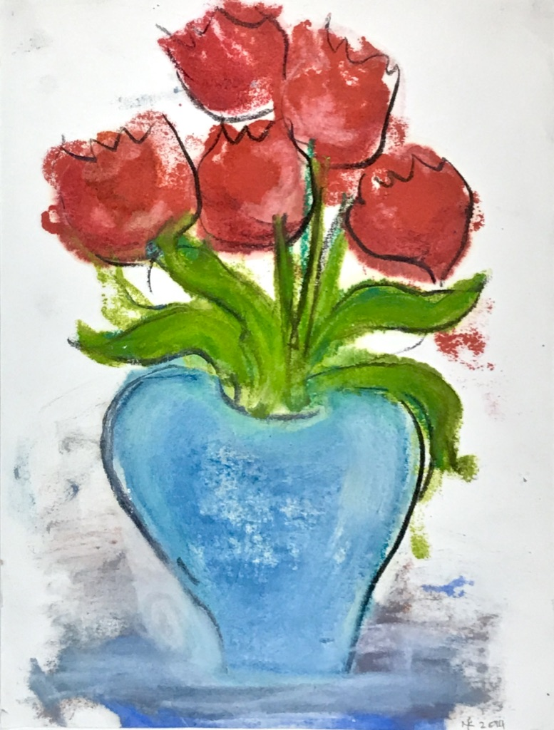 Red Tulips, Blue Vase, 2015