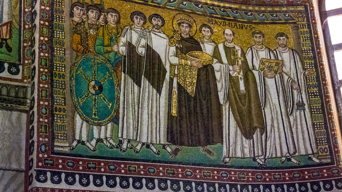 Mosaic of the Emperor Justinian and his court at San Vitale in Ravenna. Photo by John Wehrle, All Rights Reserved, 2014.