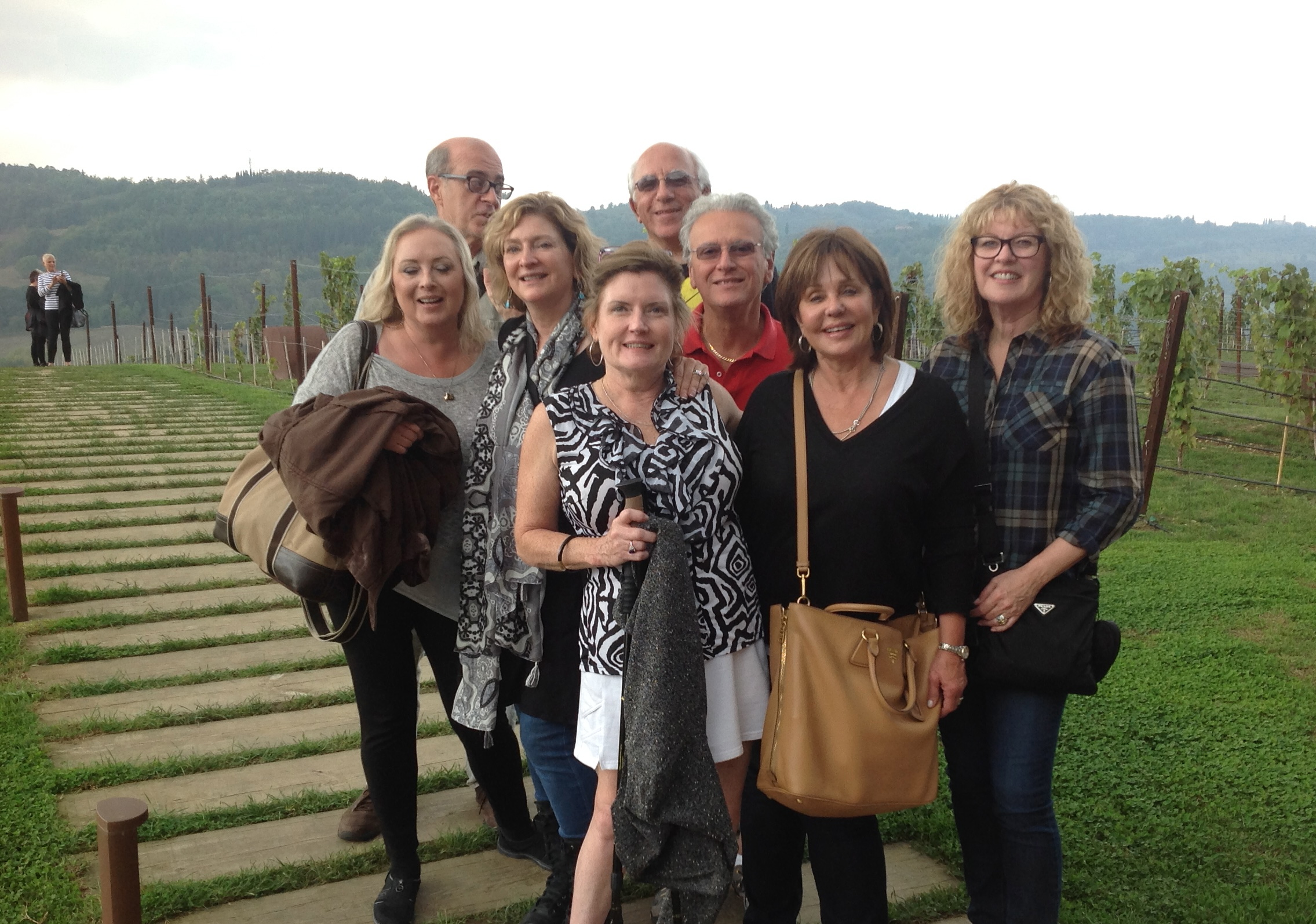Post-lunch (three courses with paired wines and vin santo for dessert), the group prepares to descend six stories underground to tour the Cantina Antinori winery.