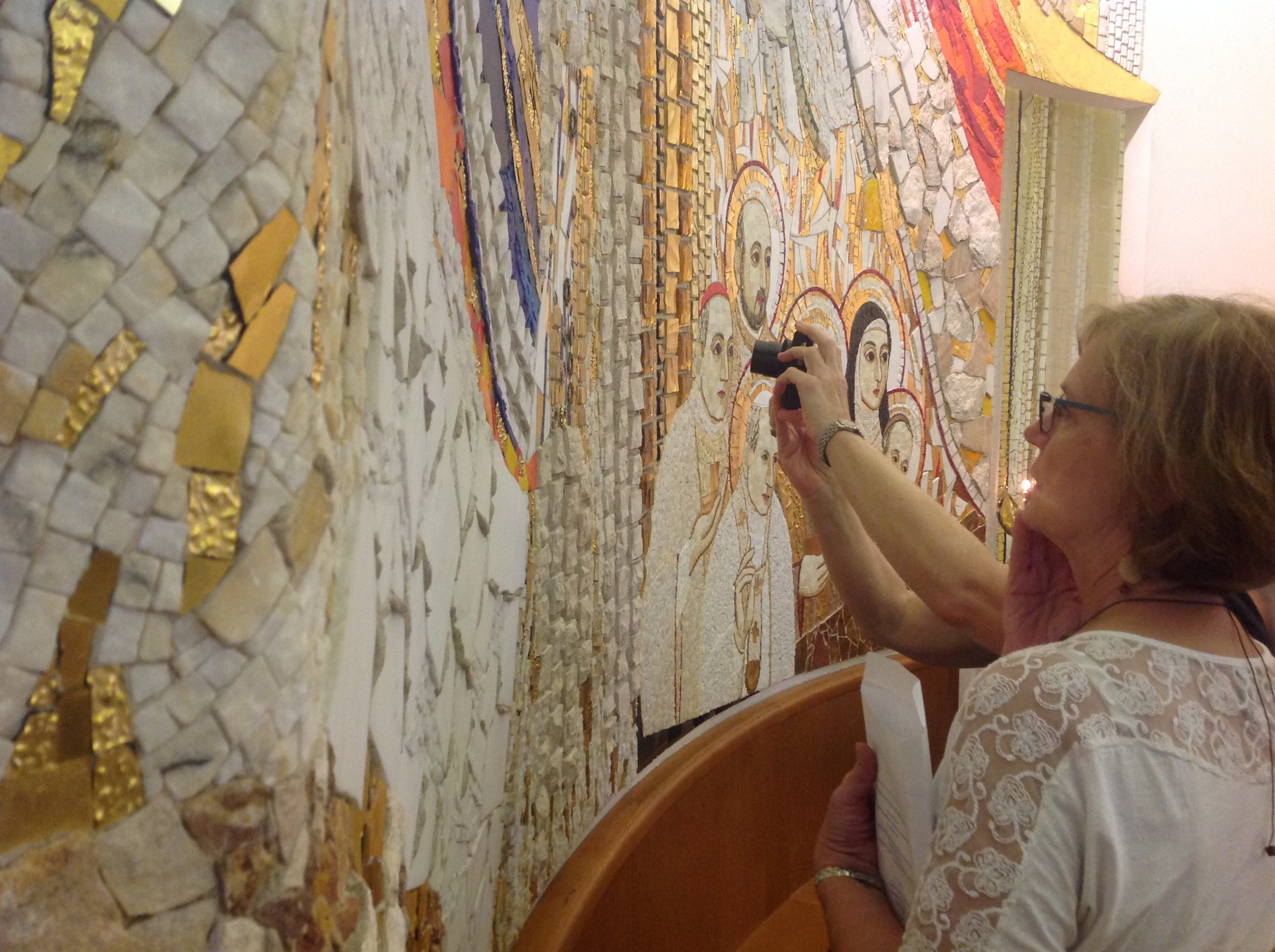 Participants get up close to the work of Father Rupnik at Centro Aletti in Rome.
