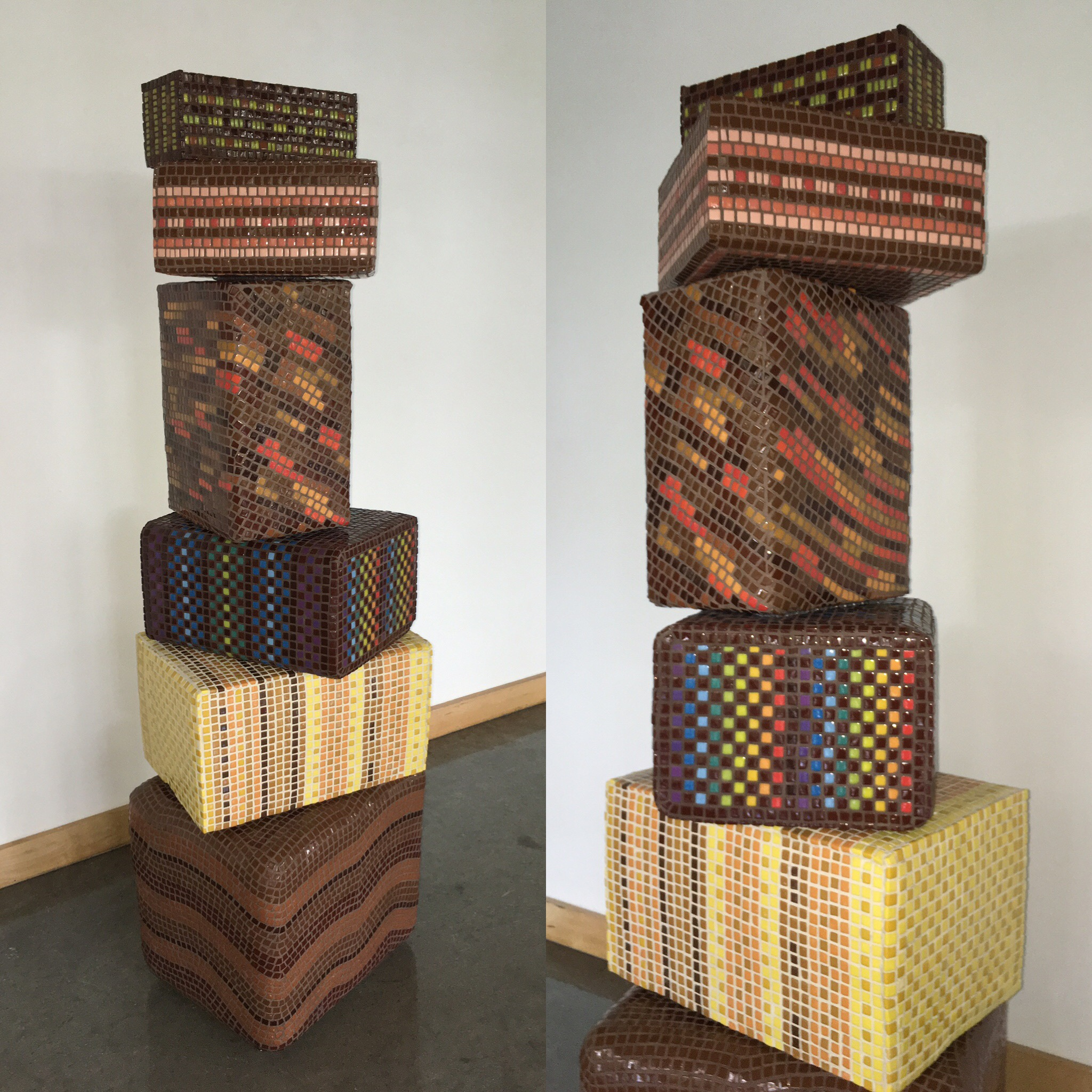 Tower of Unmelting, Chocolatey Truffled Goodness, 2016  60 inches tall.    Enameled glass, styrofoam, plastic, steel and cement-based adhesive. Suitable for outdoors. Inquire for purchase and display information. julierichey@mac.com.