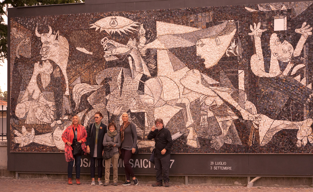 Friends on the 2017 Mosaic Masterpiece Tour visiting the Scuola Mosaicisti del Friuli in Spilimbergo , Italy.