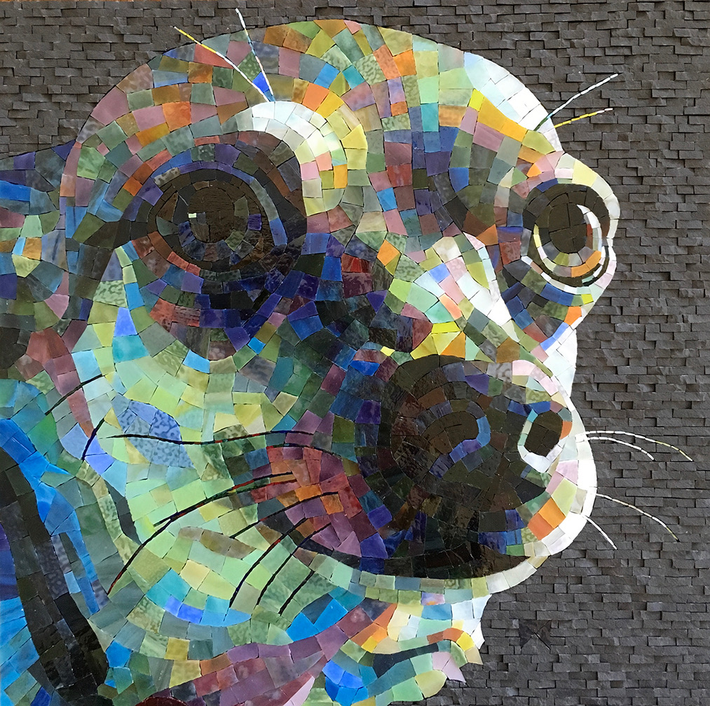 """""""Trooper,"""" an example of Donna Van Hooser's illustrative and colorful mosaic pet portraits"""