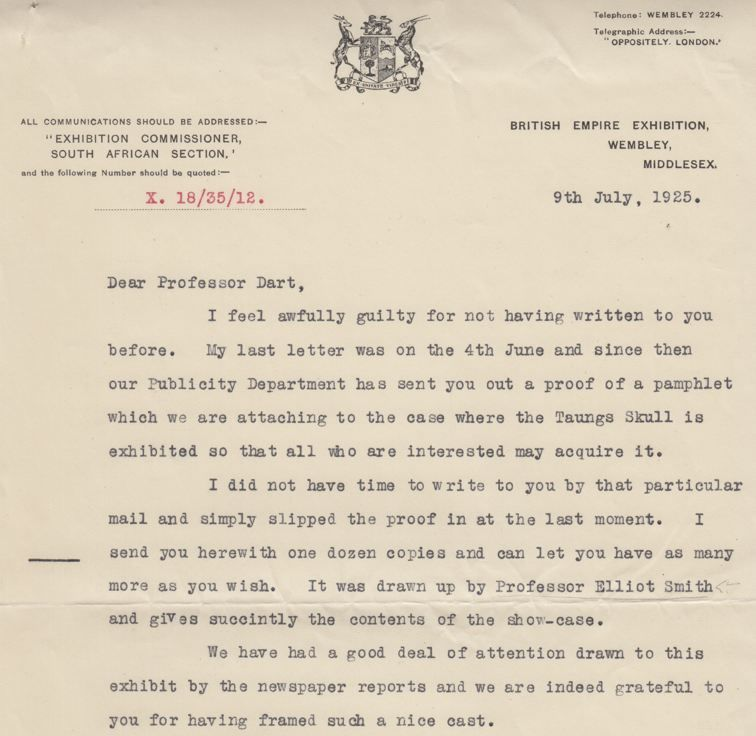 Letter from the Wembley Commission to Raymond Dart, 1925. The exhibit of the Taung cast at Wembley was a huge success -- Dart and the casting company filled international orders for decades. (photo: L. Pyne, courtesy of the University of Witwatersrand.)