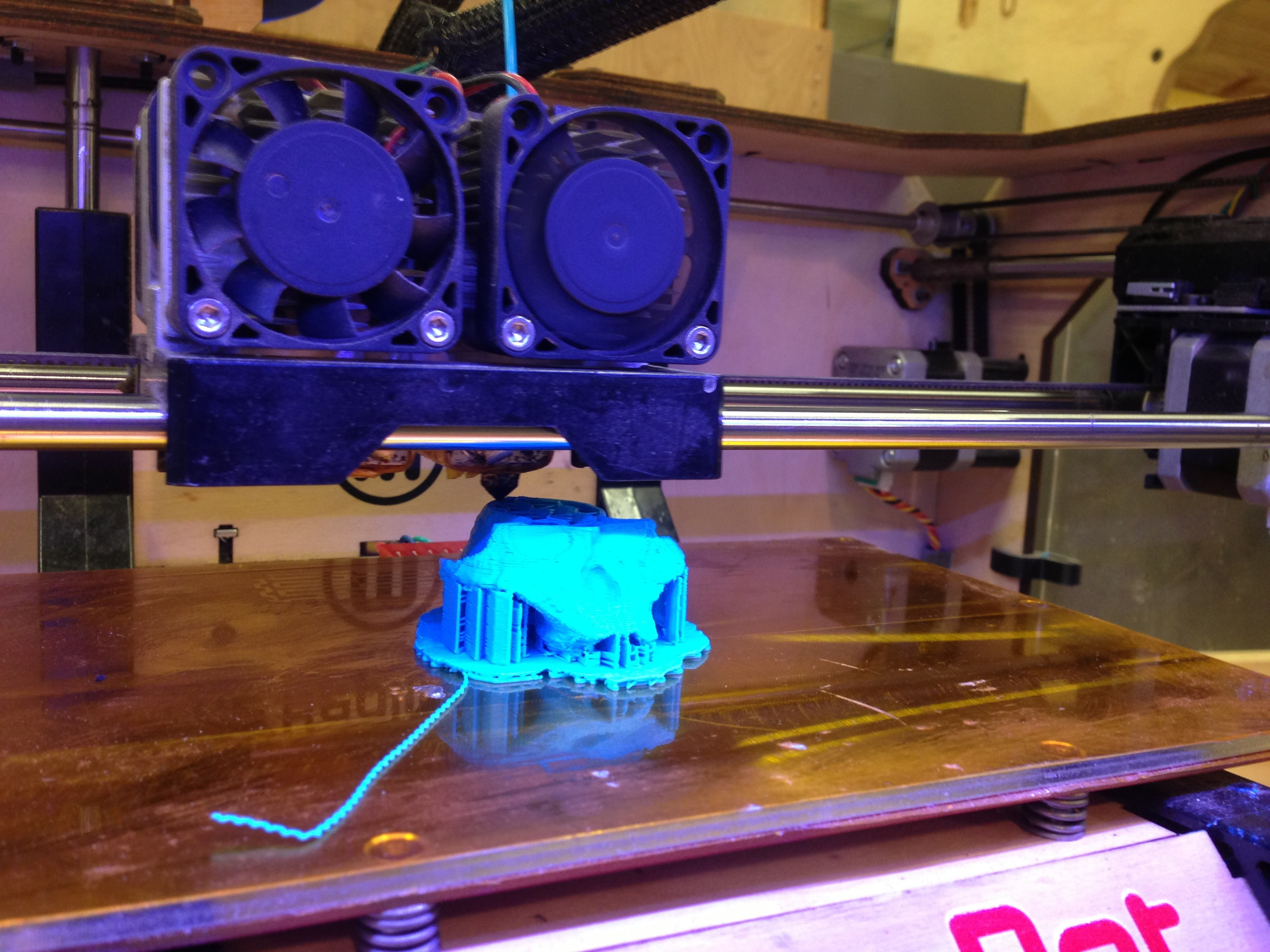 Halfway through the print. Note the support structures (under the zygomatic arches) and raft (on the bottom) included in the print. These weren't included in the original file, but we opted to use them due to the fickleness of ABS plastic.