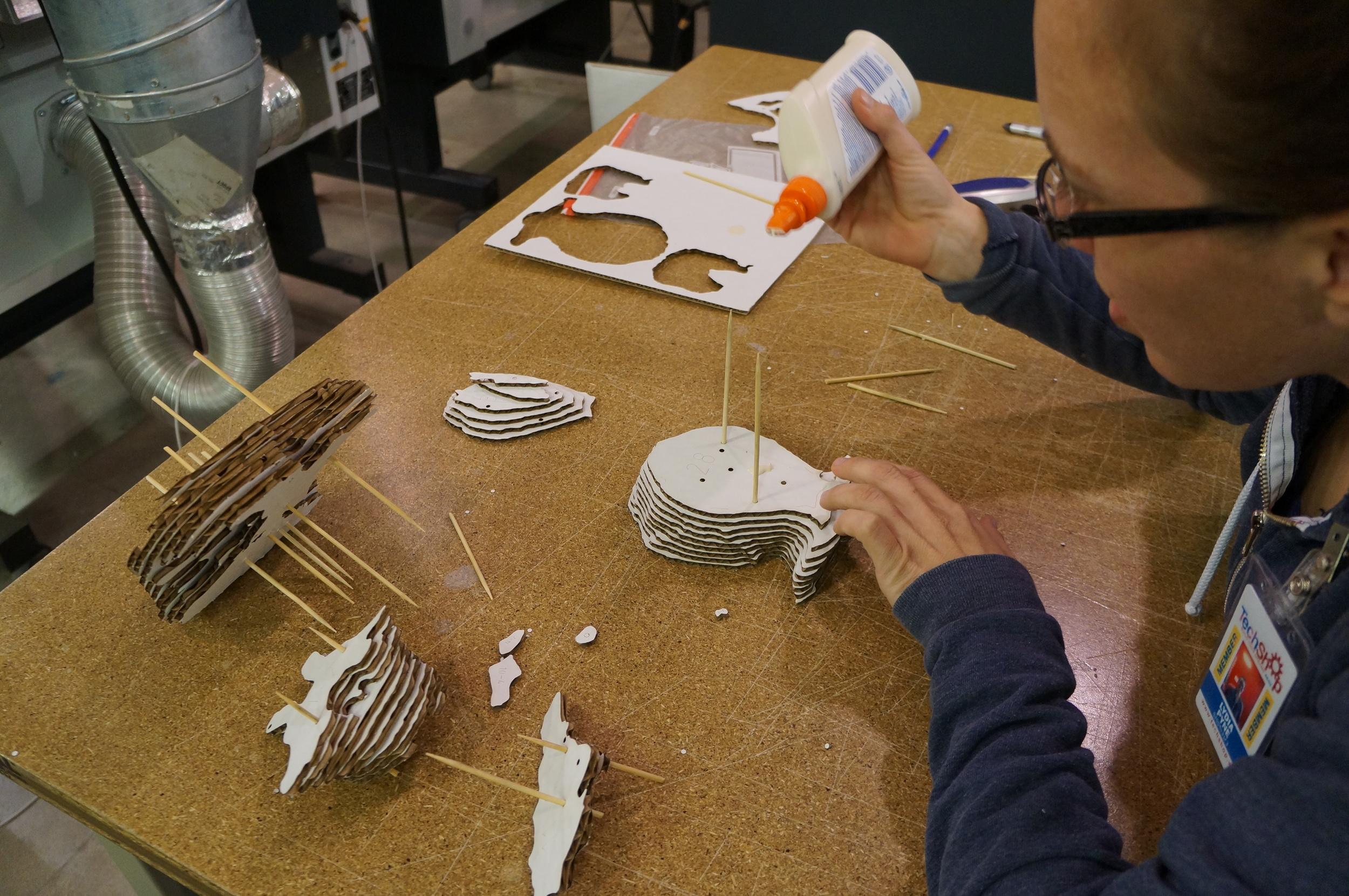 Gluing, aligning, gluing, aligning, gluing, gluing, gluing... Art really imitates science.