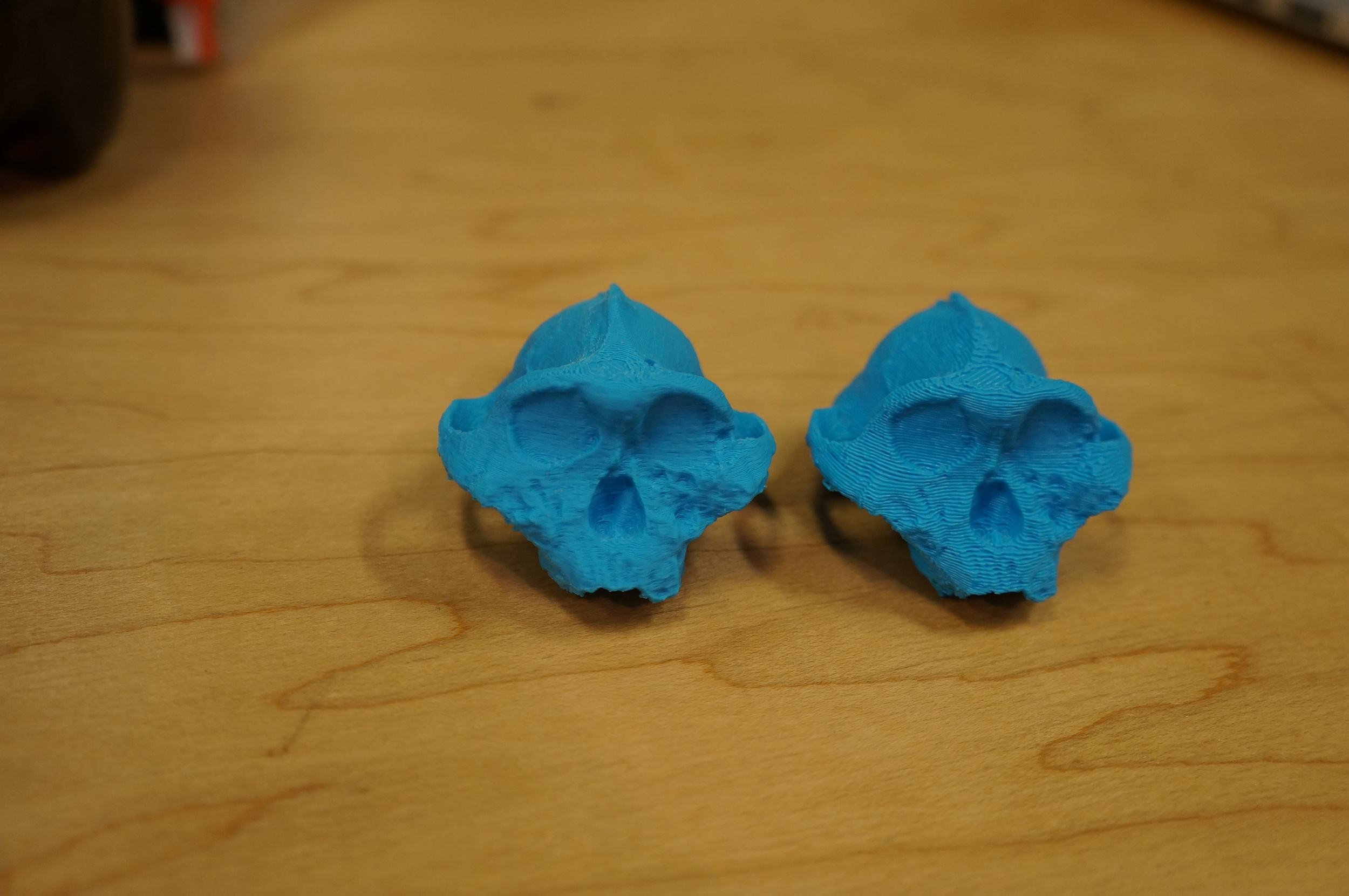 Both prints side by side -- fine resolution on the left and coarse resolution on the right.