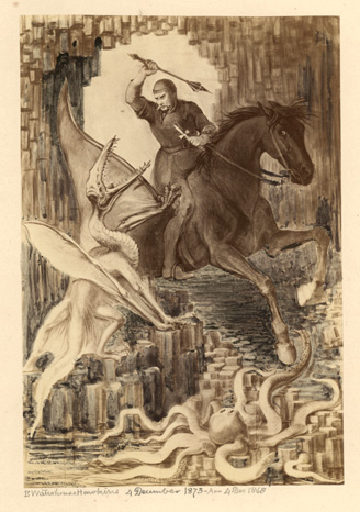 St. George and the Pterodactyl,    B. Waterhouse Hawkins, 4 December 1873.   Museum of Natural History, Philadelphia, PA. USA.