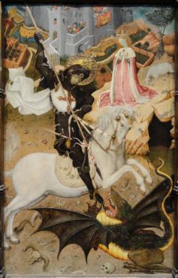 Saint George Killing the Dragon    (1434-1435), Bernat Martorell.   Art Institute of Chicago, Chicago, IL. USA.
