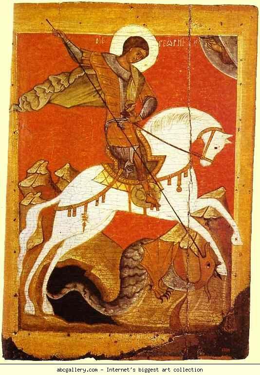 Saint George and the Dragon. Novgorod School, 14th century. Russian Museum, St . Petersburg, Russia.