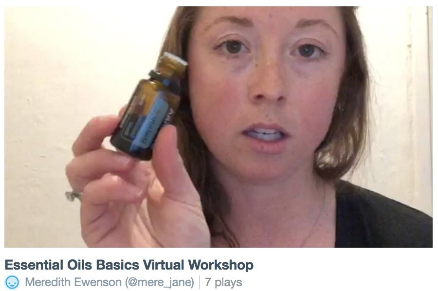 essential oils basics virtual workshop class