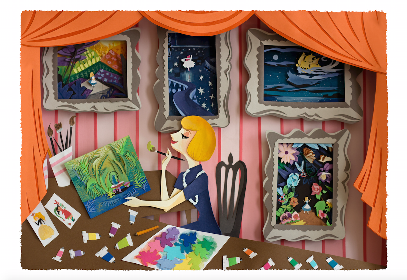Mary Blair  is best known for her paintings for the  Walt Disney Animation Studio . She worked on classic films like   Alice in Wonderland, Cinderella   ,  and   Peter Pan  .  Although Mary Blair worked mostly in gouache she also did paper cut art. So in honor of her I decided to use both paper and gouache in my portrait of her.