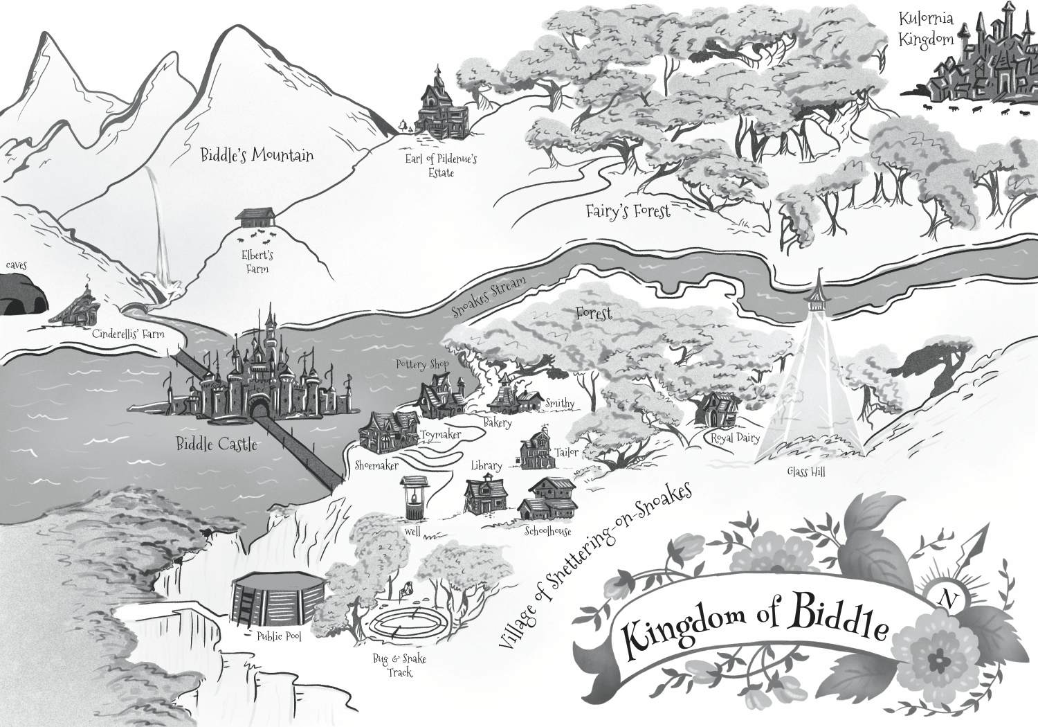 """This map of the Kingdom of Biddle is the environment in which all the stories take place. I had fun trying to """"map out"""" all the locations in the stories."""