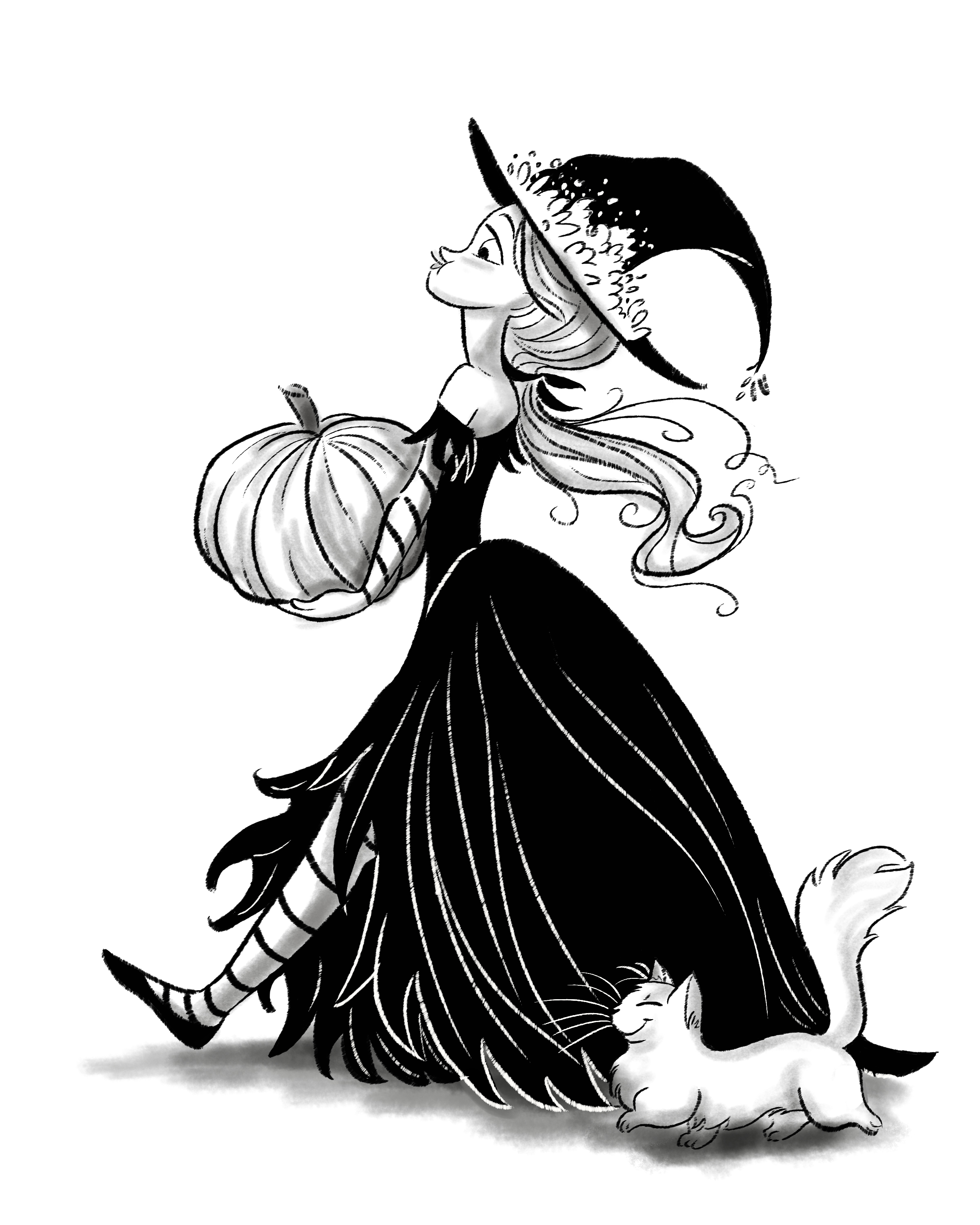 Sometimes the witch and the kitty would be doing things most people are doing in October.