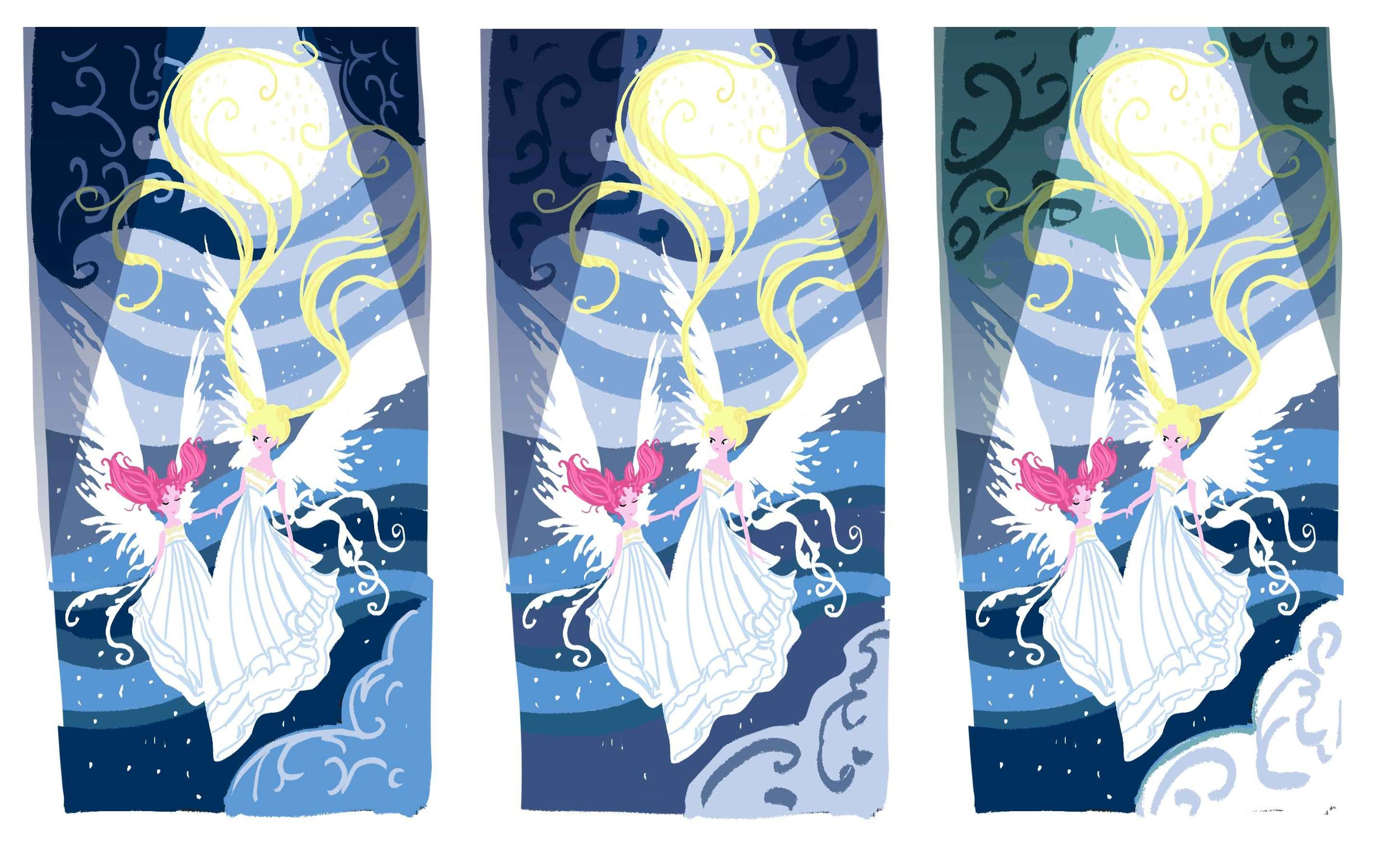 Before I start on the paper cut, I like to make color thumbnails to figure out my color palette.I went through multiple color palettes for the environment.I decided on the blues, because ultimately, it seemed most fitting.