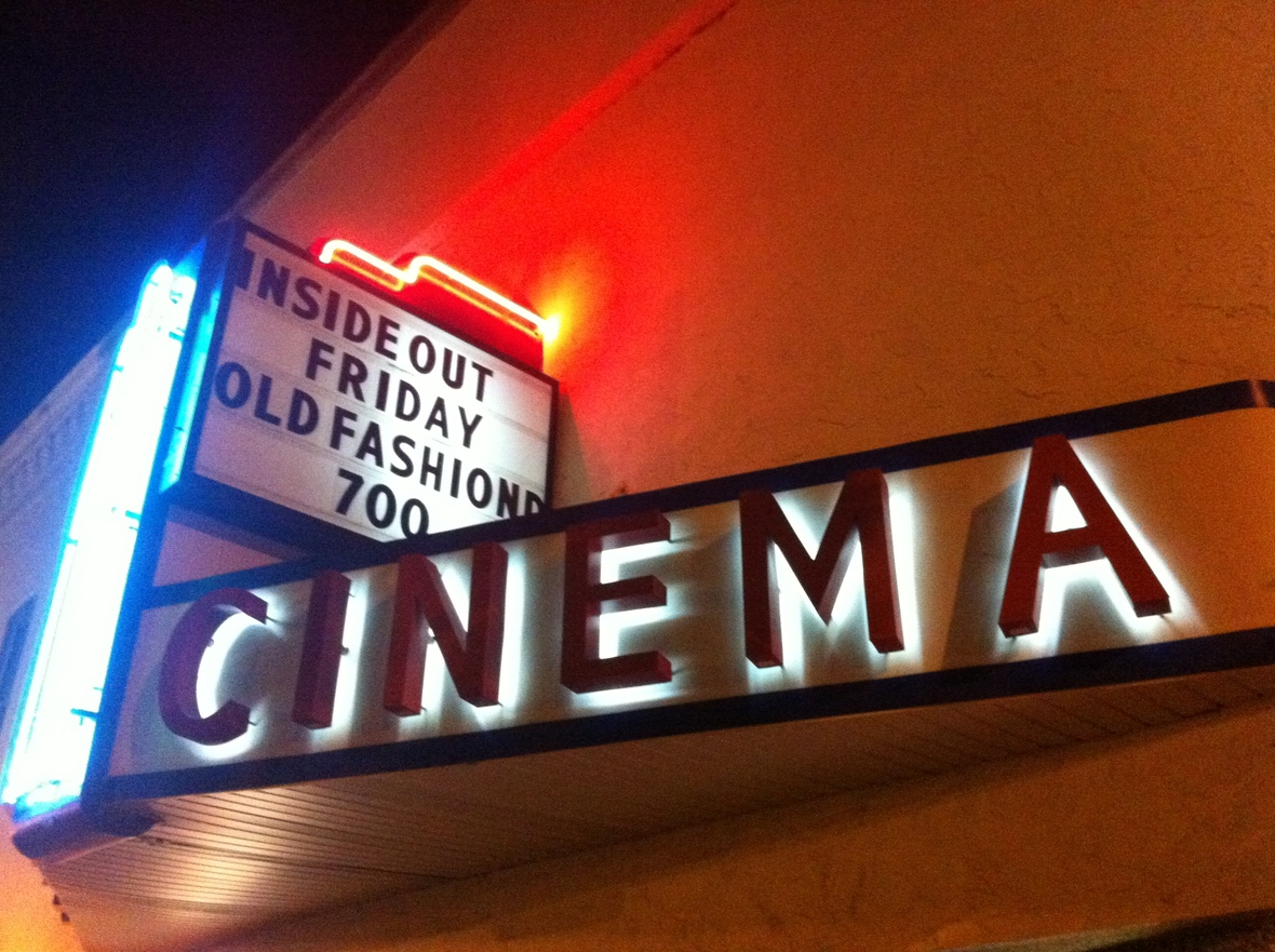 "The marquee at the De Pere Cinema advertising the sold out showing of ""Old Fashioned."""