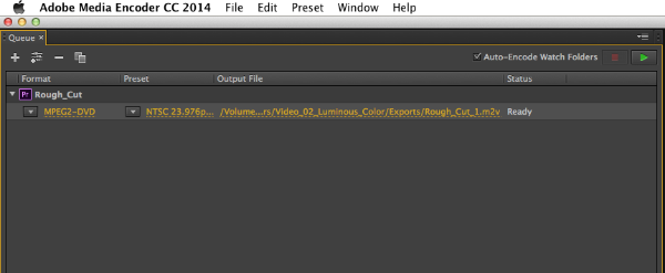 "Click under ""Rough_Cut"" where it says ""MPEG2-DVD"" in yellow."