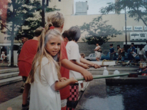 Liz fishing in the Michigan Brown Trout Festival at age 7 in 1991.