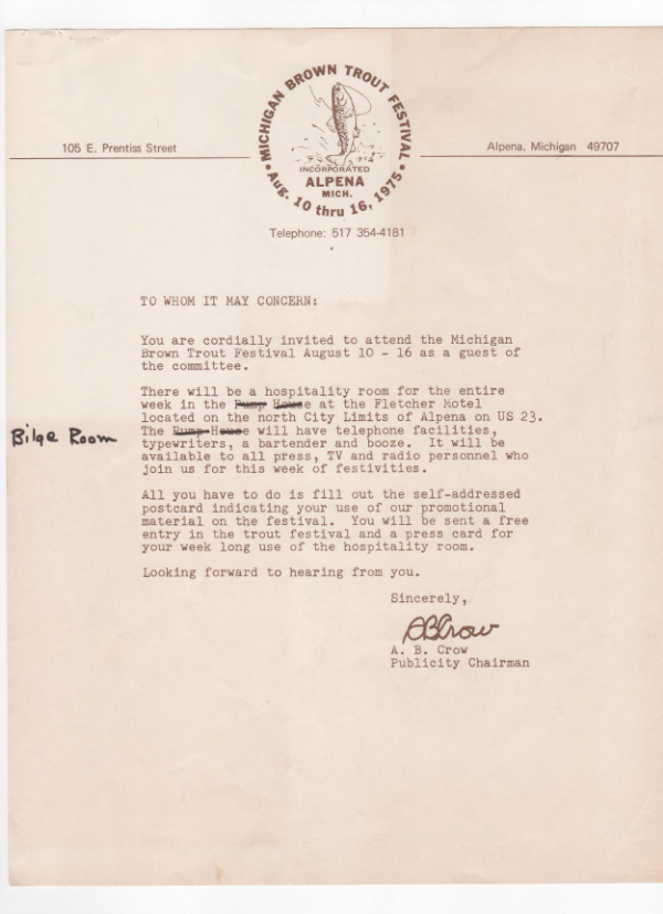 """An invitation to the press promising, """"a bartender and booze."""" What else do you need?"""