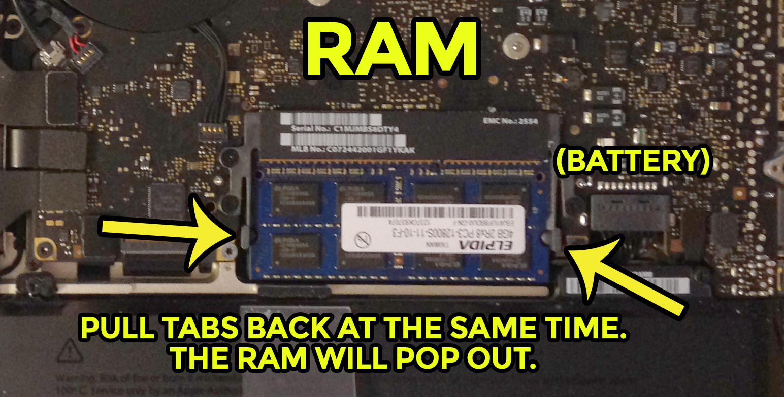 Use your thumbs to pop out the RAM.