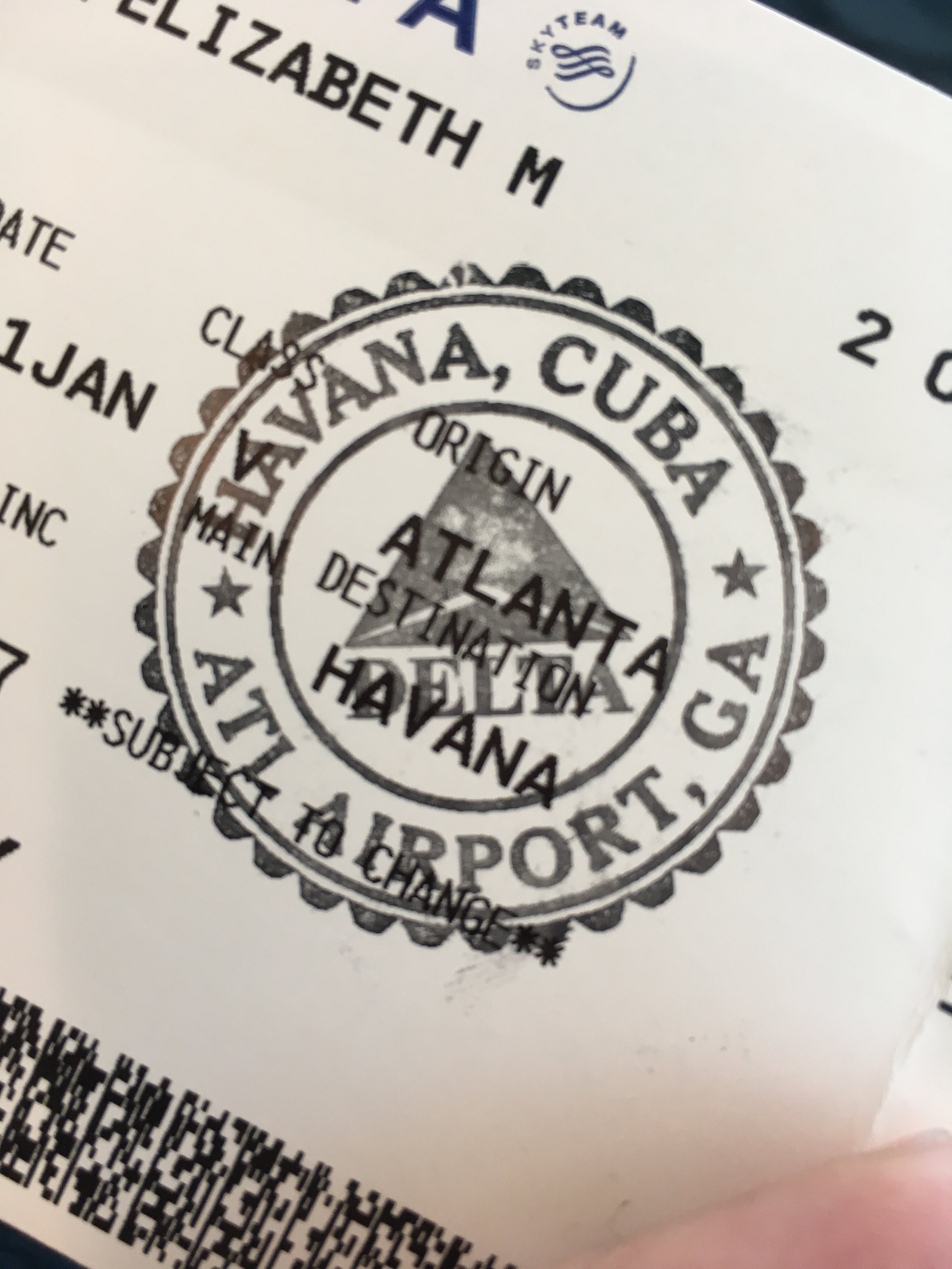 Boarding pass with Havana stamp