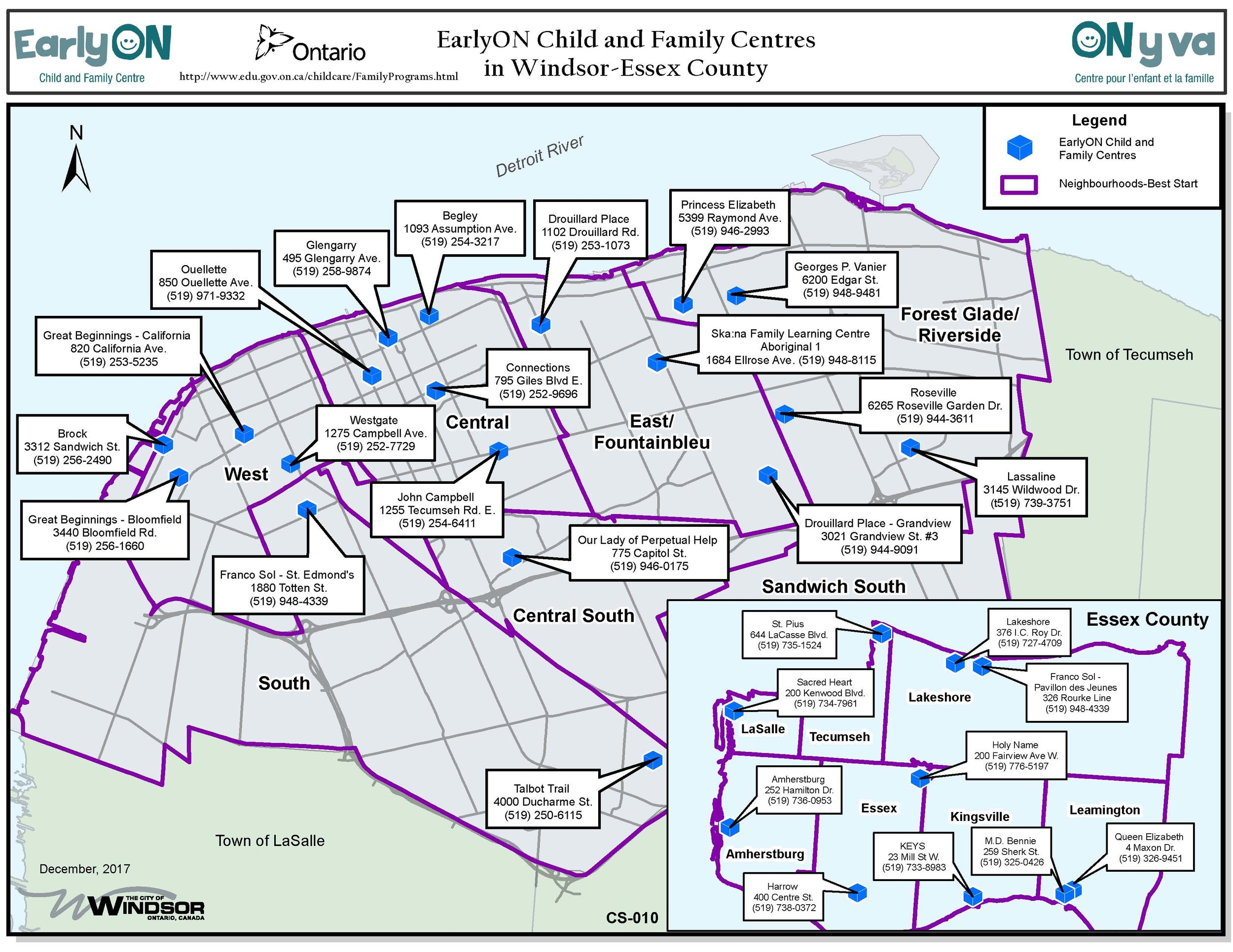 Map of Early On Children and Family Centres in Windsor and Essex County.jpg