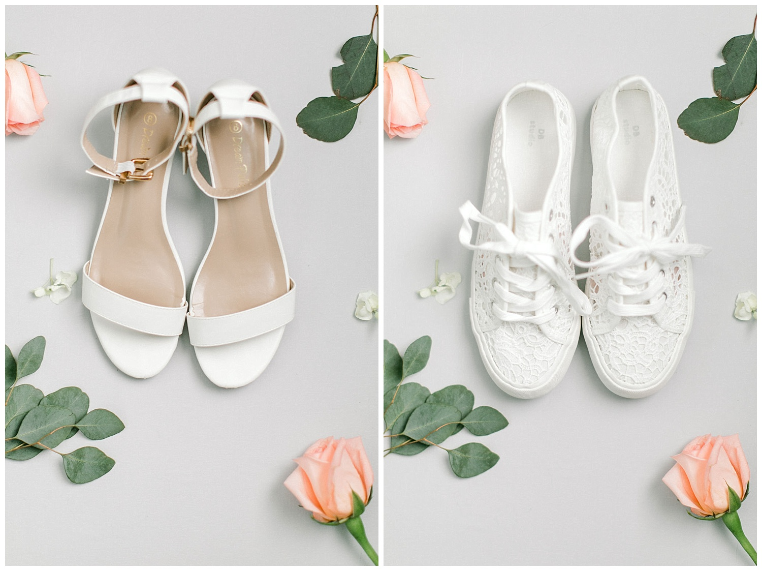 Samantha rocked two pairs of shoes for her wedding. Simple and white heals and the cutest white sneakers for the reception!