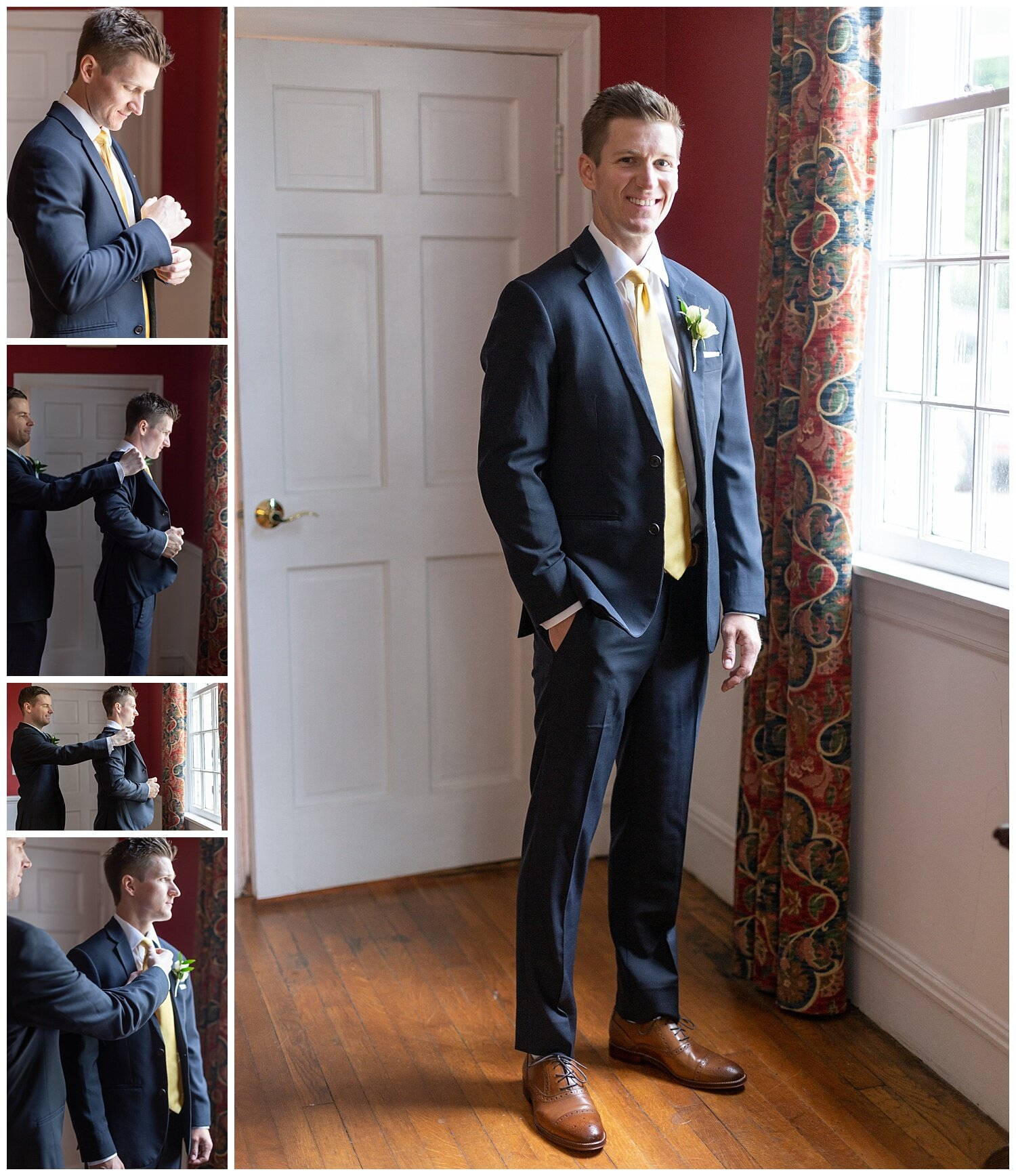 Ryan looks so sharp in his Navy suit! Such a timeless groom look.