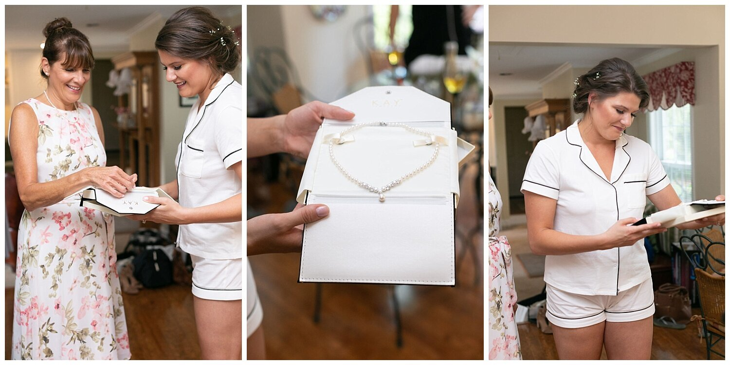 Ben gifted Emily this beautiful pearl necklace. When she put it on with her dress it brought out the tears. Emily was so happy and truly felt like a bride.