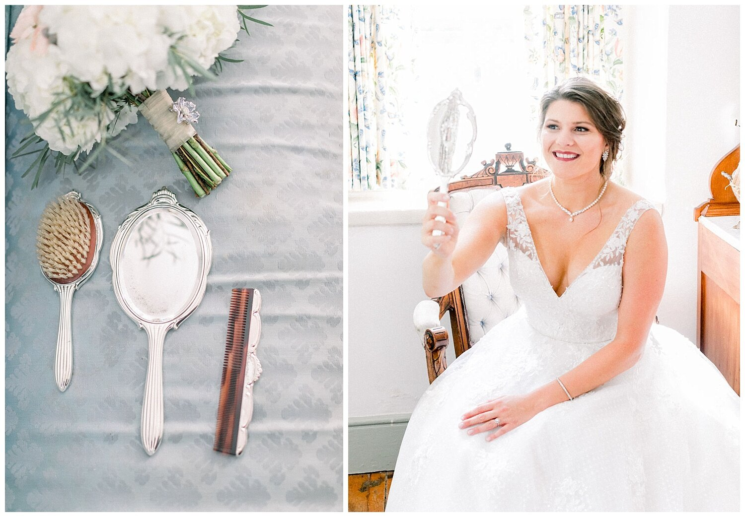Featured her grandmother's hair brush set. Emily recreated a photo her grandmother had taken of her before her wedding. You could feel her spirit all around Emily.