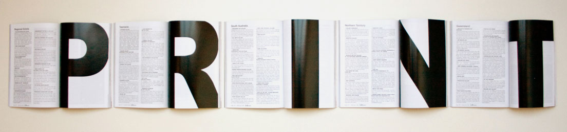 PRINT  offset print on five separate pages of Art Almanac  22 x 150cm  Finalist in the East Gippsland Artist Book Awards