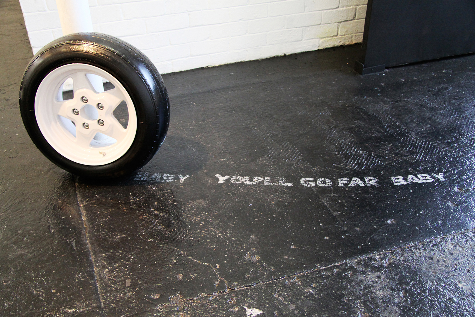 H.W.Y dreams (you'll go far baby)  car tyre relief print  dimensions variable