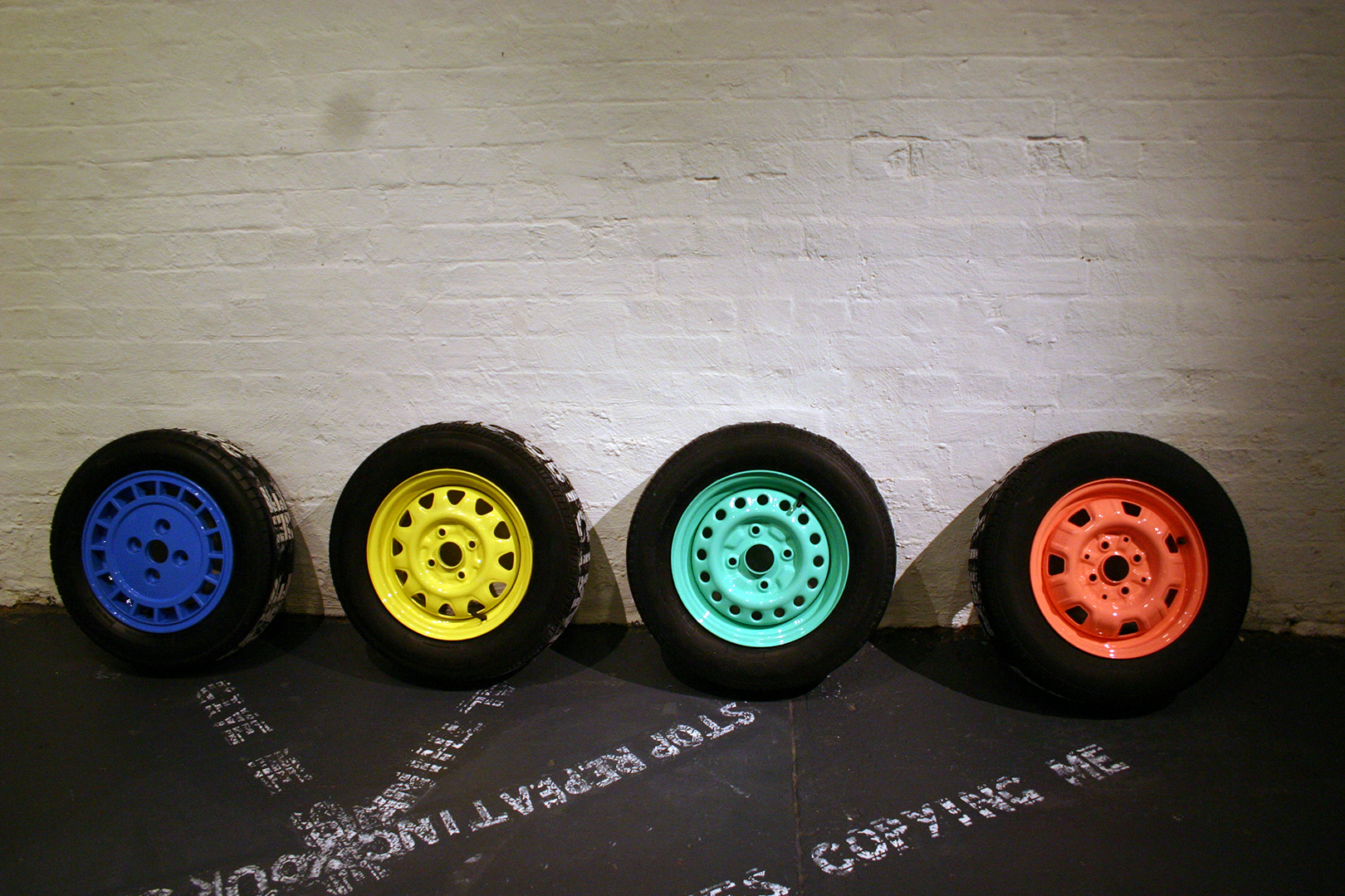 H.W.Y dreams 3  four car tyre relief prints  dimensions variable