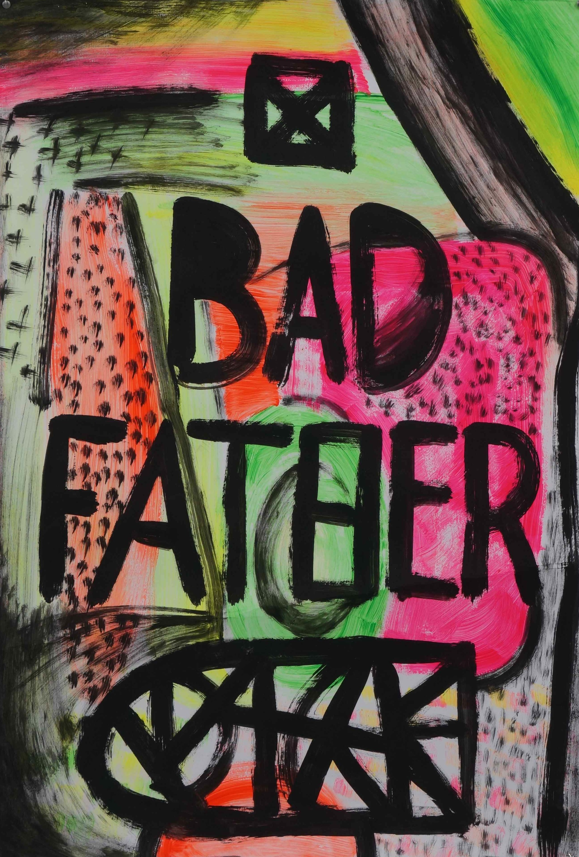 Bad father  acrylic and oil on Magnani paper  76 x 110 cm