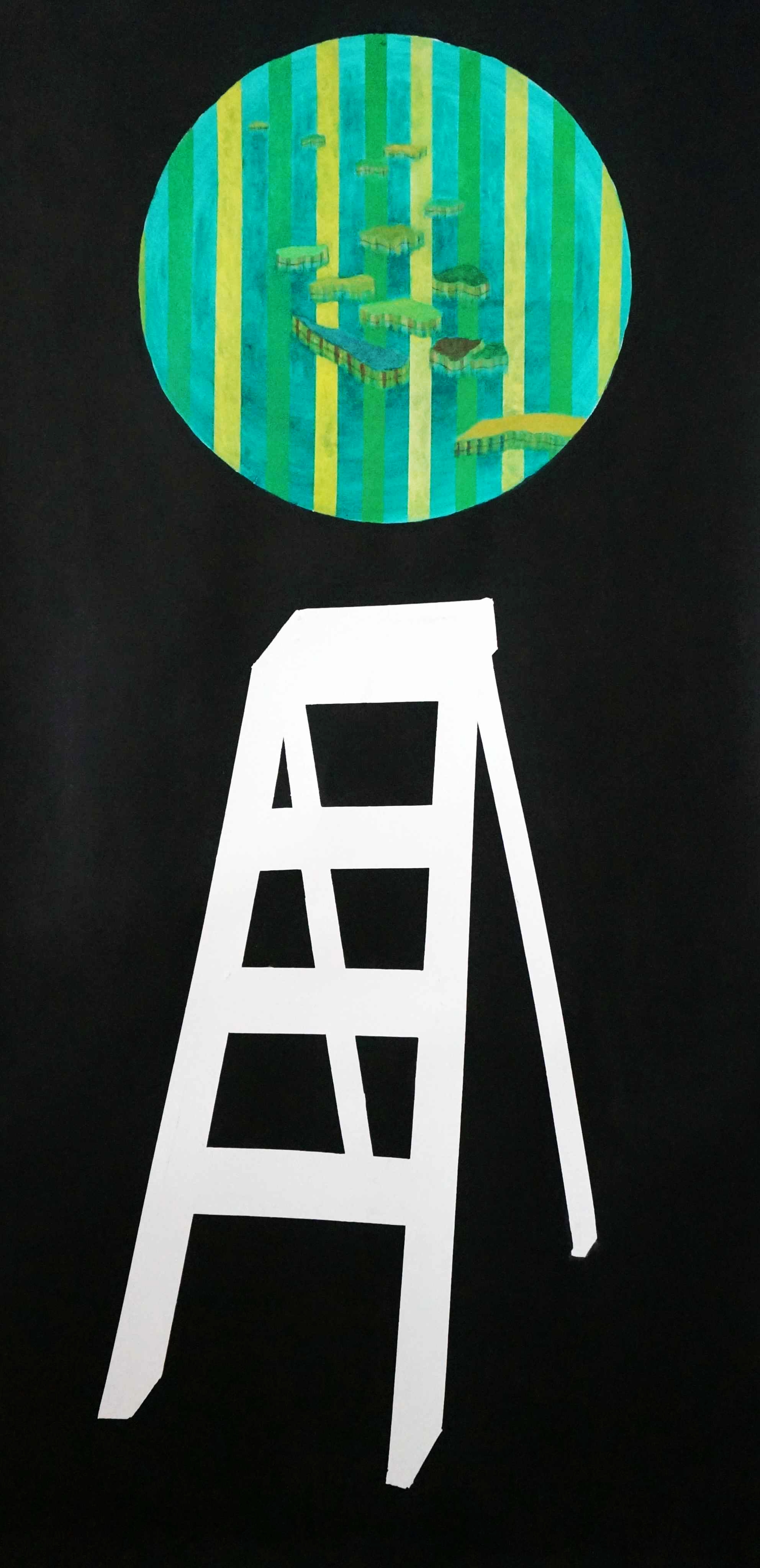 Attainment #5 (ladder to the islands)  acrylic on magnani paper  220 x 110 cm