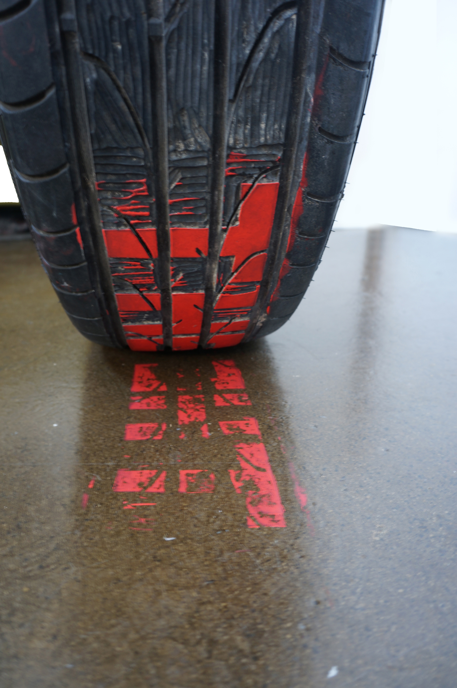 The printmakers progress, 2013-2018  car tyre relief print  dimensions variable
