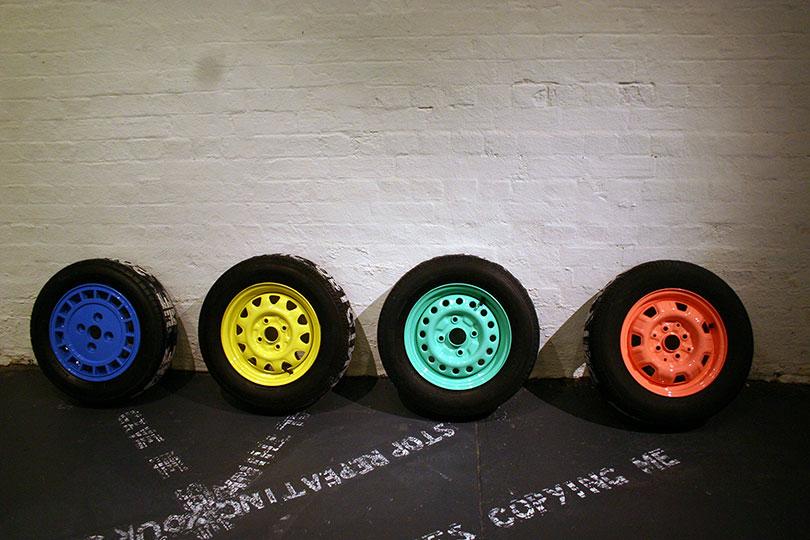 H.W.Y dreams 3, 2012  car tyre relief prints  dimensions variable