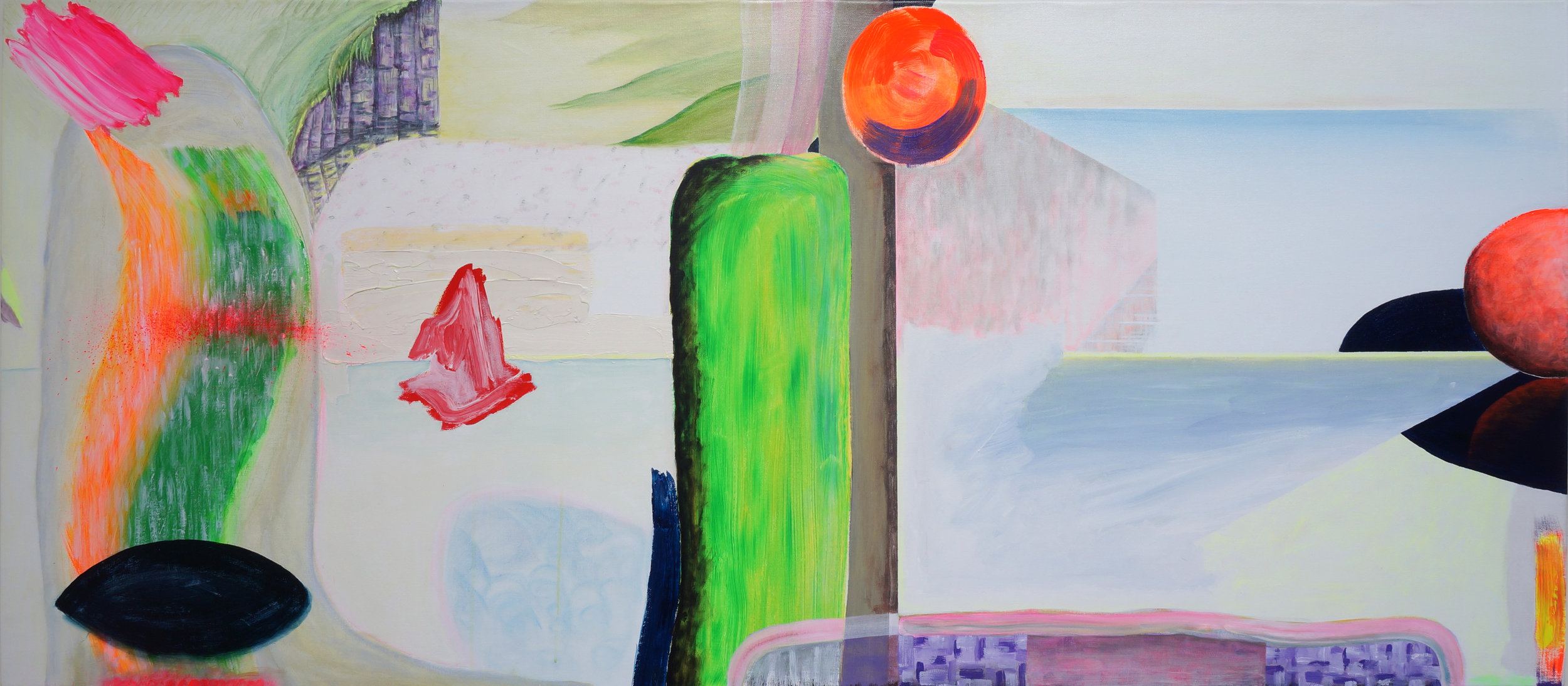 Untitled (Moses casts the stone tablets), 2018  acrylic, oil and gouache on linen  100 x 200 cm