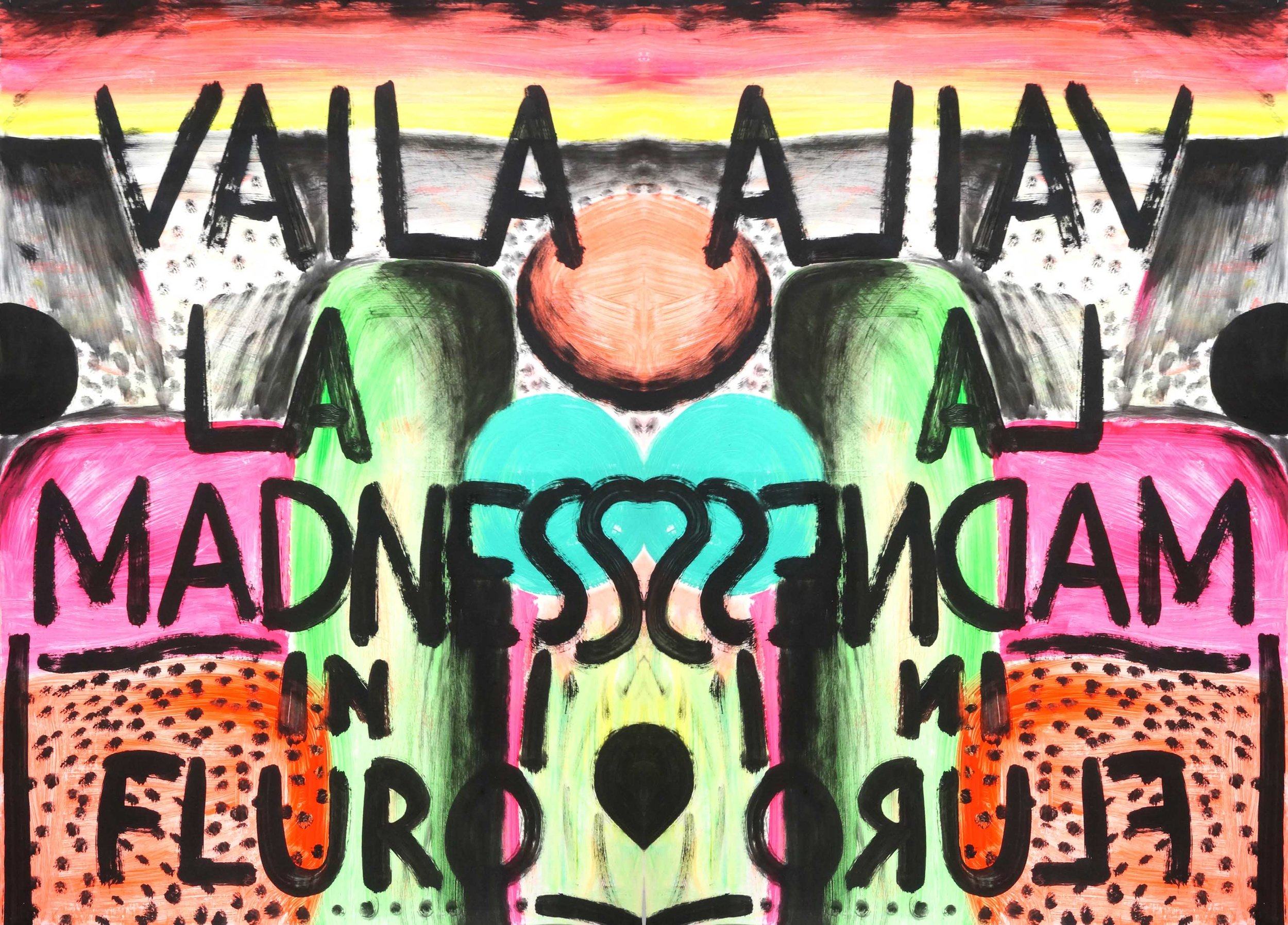 Vailala madness, 2013-2016  acrylic and oil on paper and type c print  110x180cm
