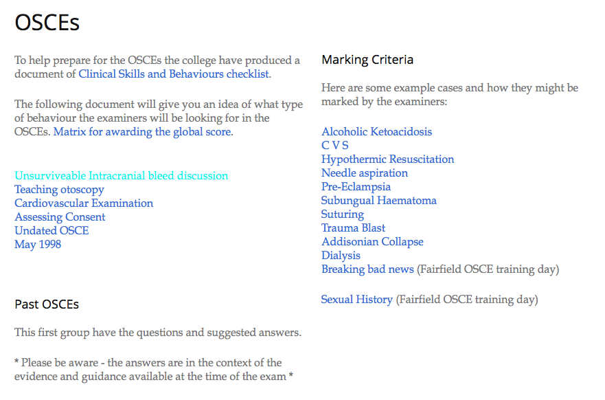 Example OSCE questions and scenarios