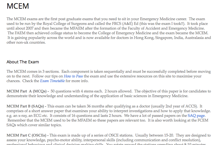 Free content - MCEM & FCEM exams