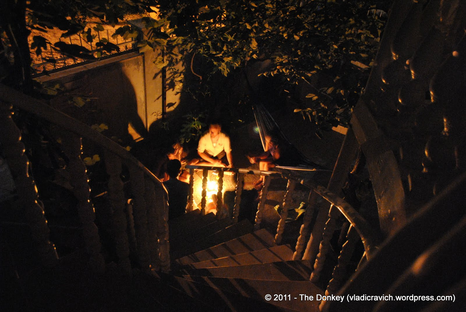 Guests at the Tbilisi Hostel during a short power outage