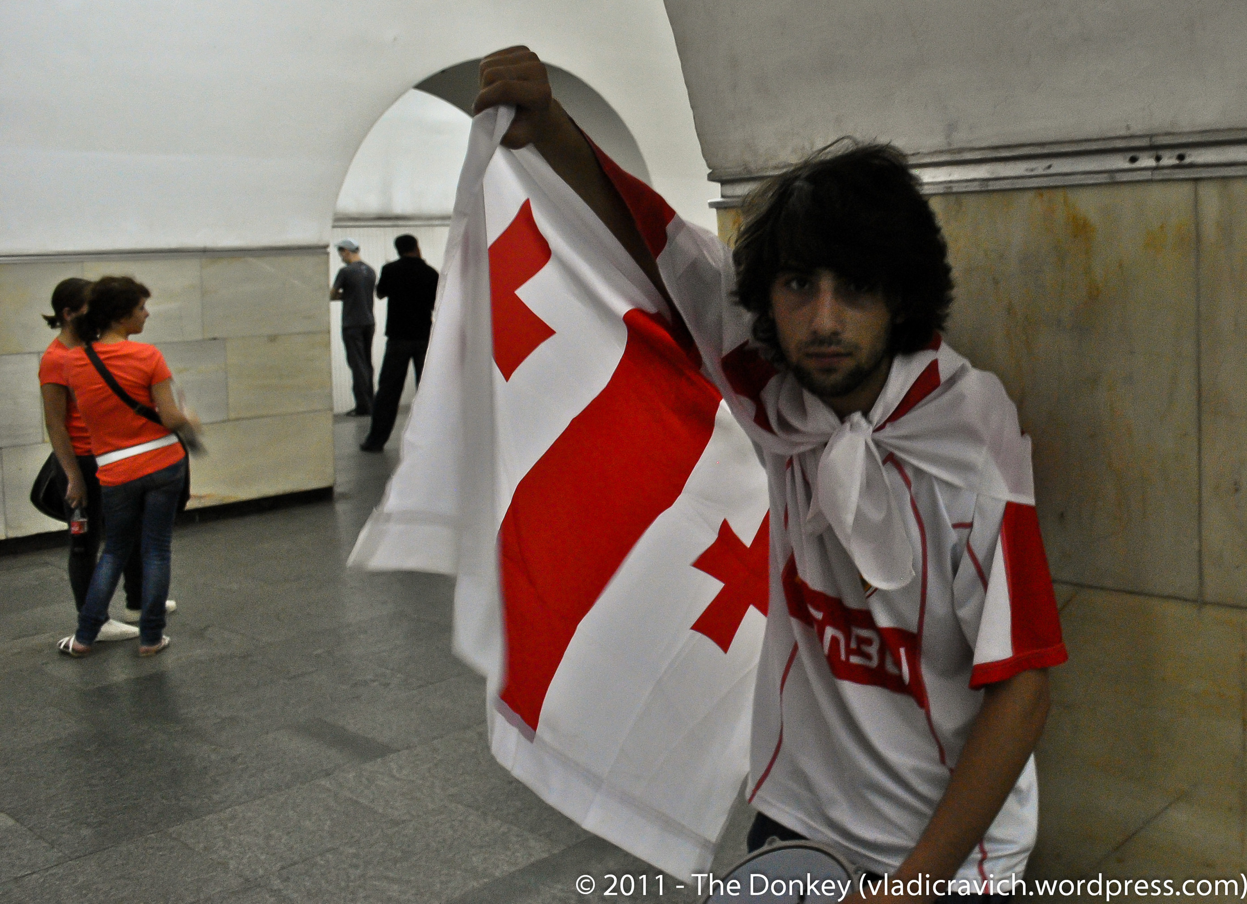 A young Georgian in the metro after a Dynamo football match