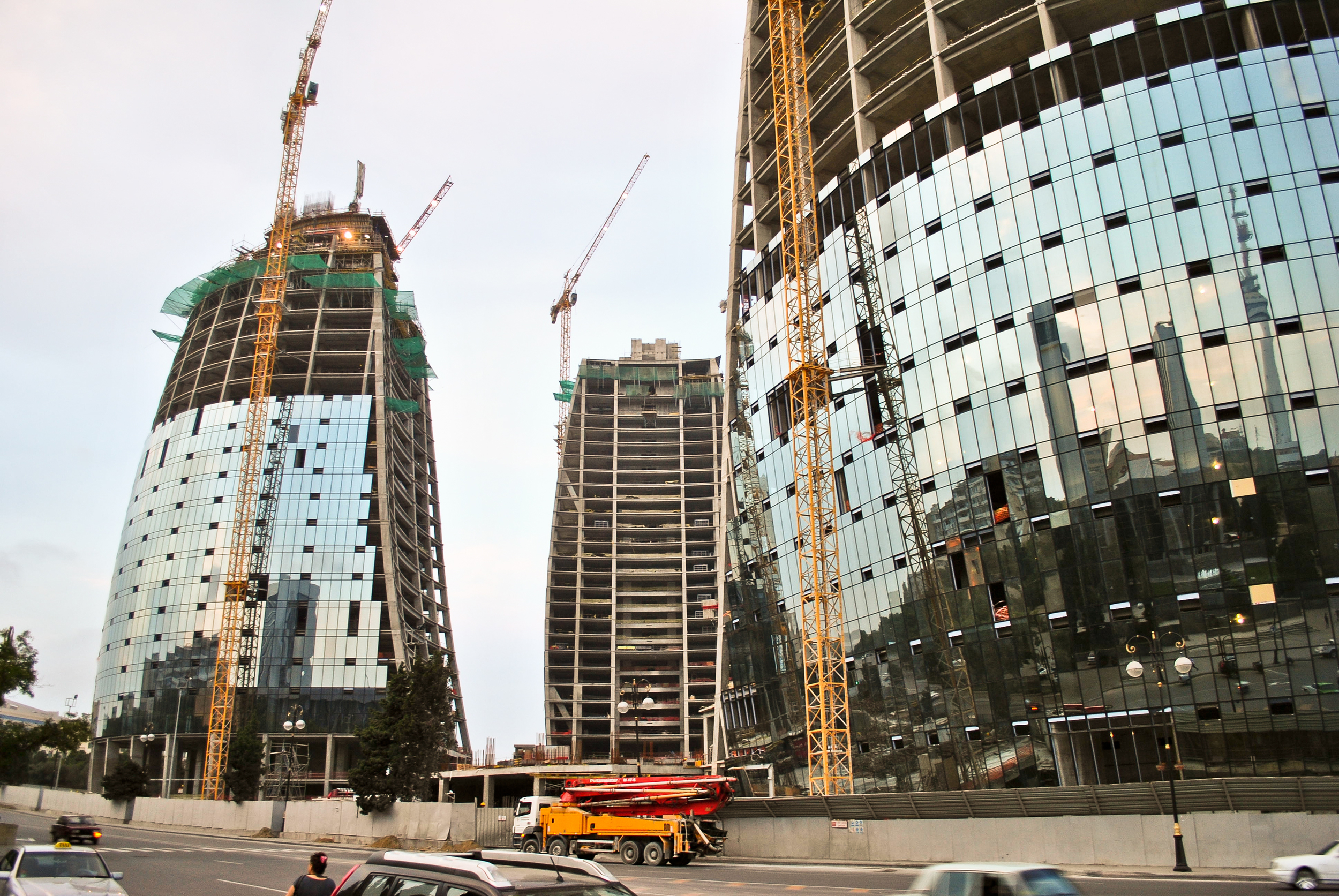 The soon to be finished Flame Towers - just another example of the glisty new architecture that has sprouted out of the capital Baku during Azerbaijan's 21st century oil and gas boom.