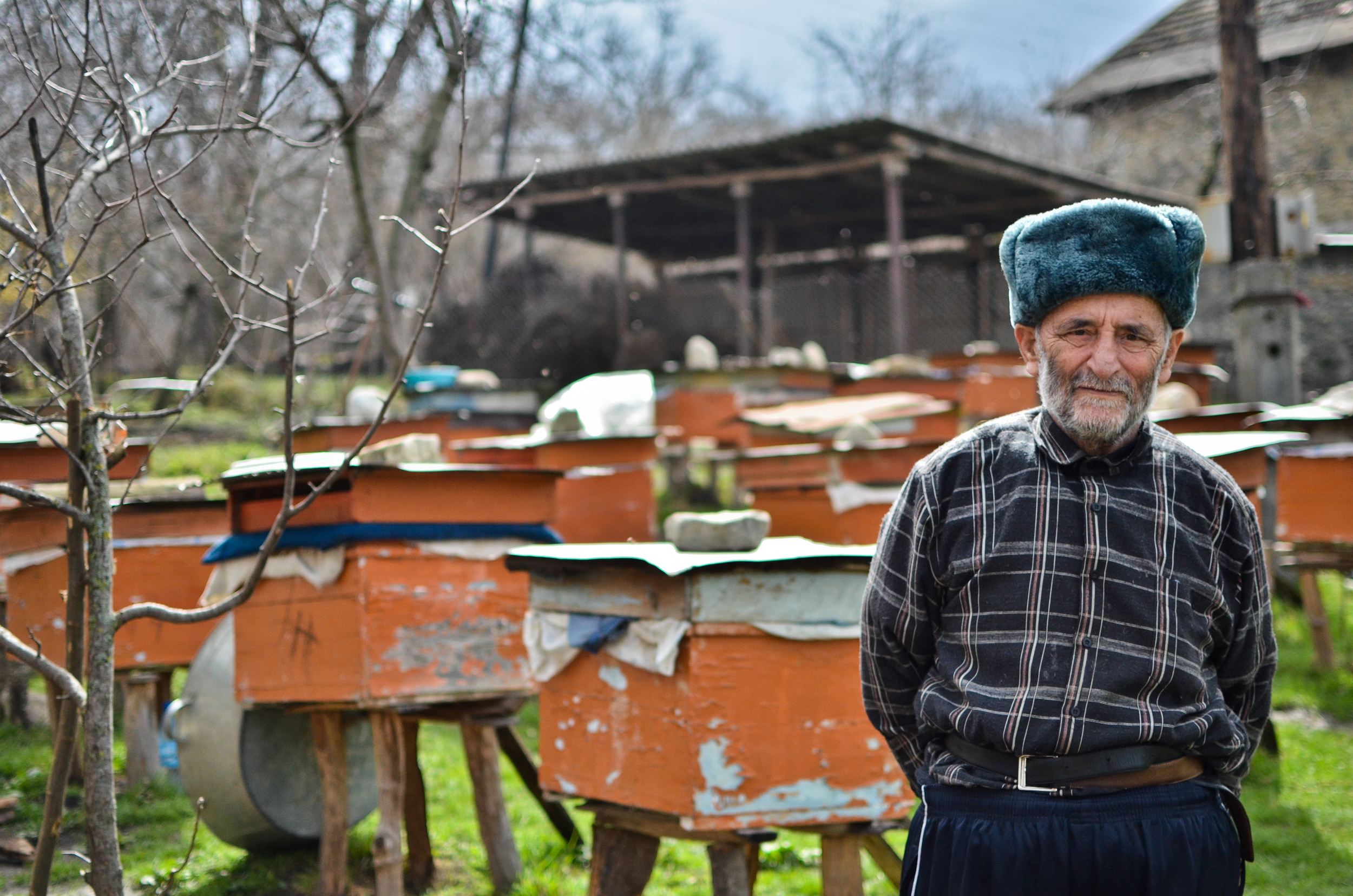 A beekeeper and farmer in Bash Shabalid, a village at the base of the Greater Caucasus Mountains.