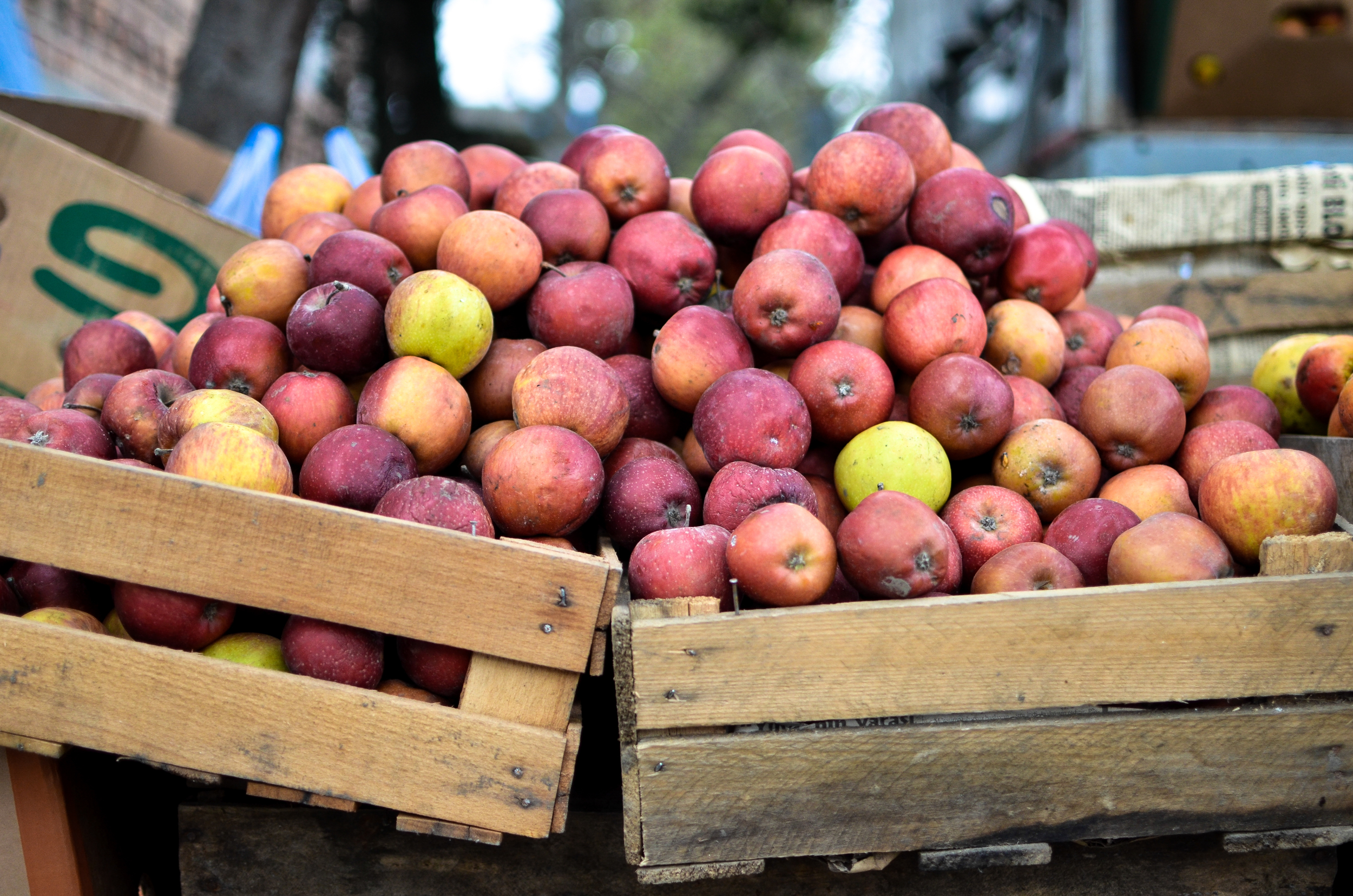 Apples in a busy market in Lenkeran, a city near Azerbaijan's southern border with Iran.