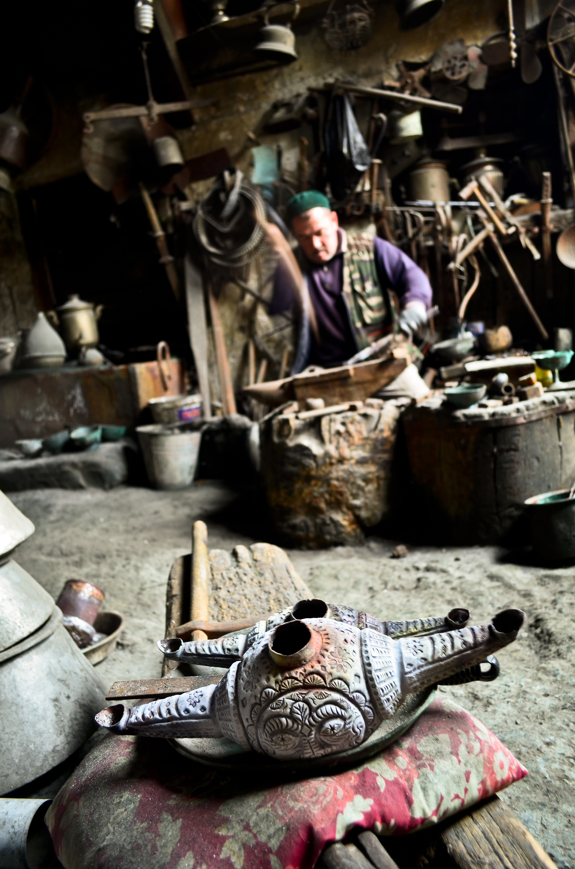 A blacksmith making traditional iron goods in Lerik, Azerbaijan.