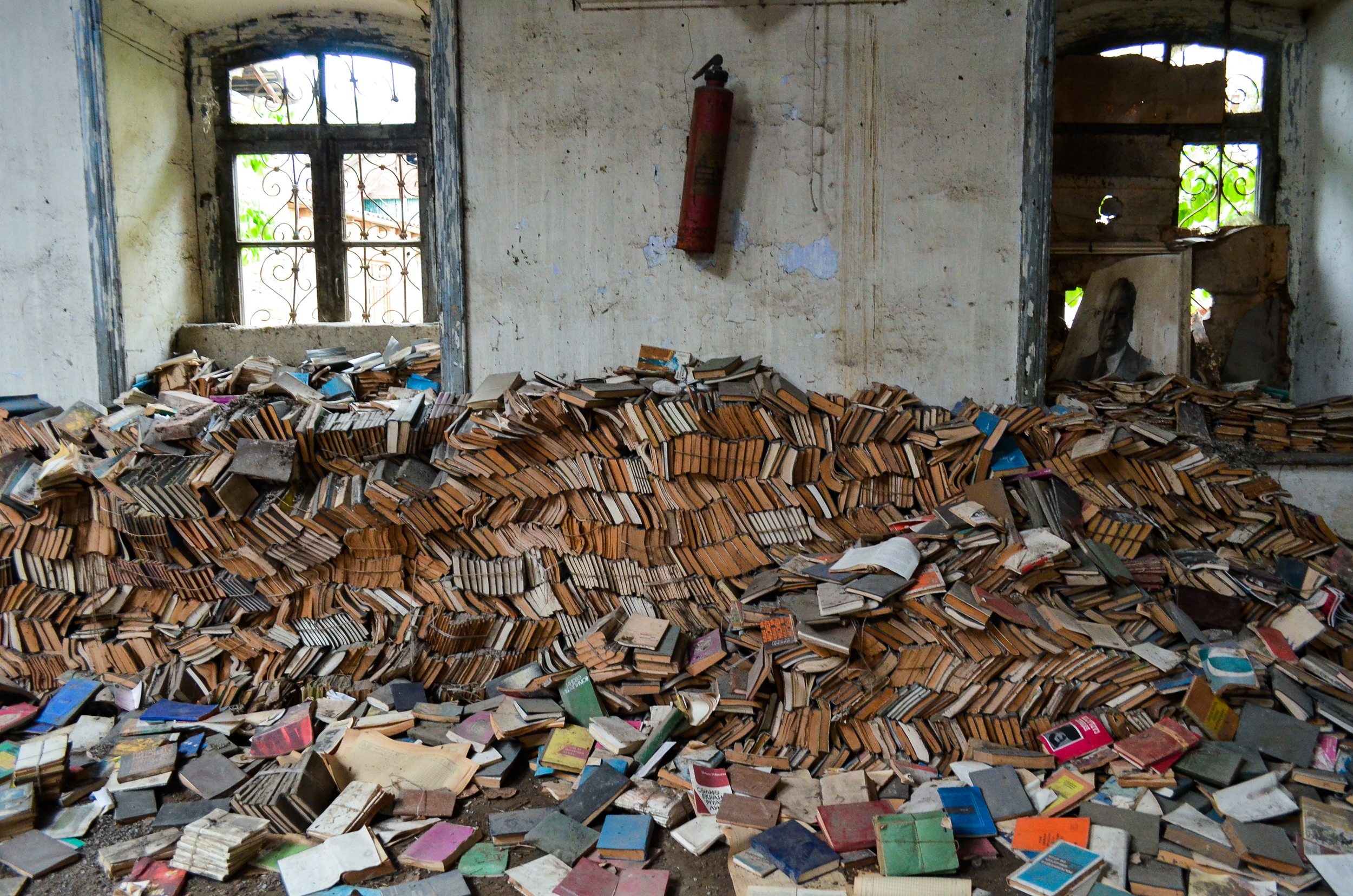 Books in a derelict synagogue in the village of Krasnaya Sloboda, a Jewish village near Quba, Azerbaijan.
