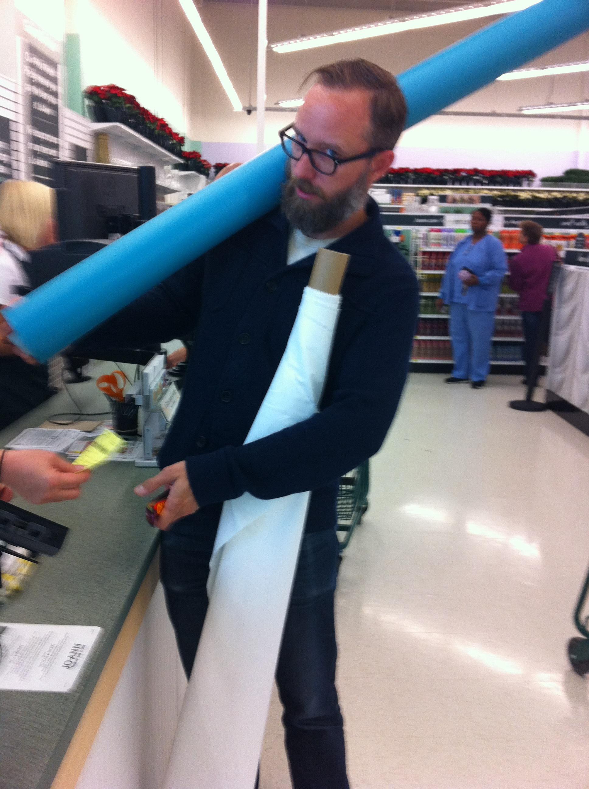 Eric getting new fabrics at JoAnn Fabrics.